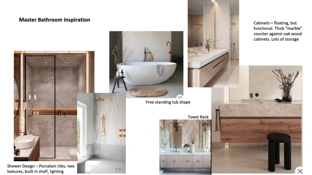 Vision board for home renovation planning for a bathroom